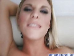 Breasty Golden-Haired Sucks and Tugs Jizz Flow