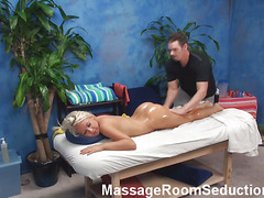 Impressive masseur stuffs mouth and cunt of honey by corpulent rod