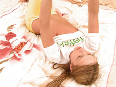 Sleepy and gorgeous teen Ivana Fukalot is fingering her slit