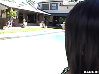 Sassy black whore in a swimming suit is getting seduced for hard core sex