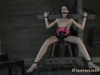 Masked beauty gets her bra buddies bounded hard with toy drilling