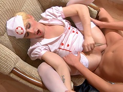 Horny sissified guy in nurse uniform spreads his legs in gay...