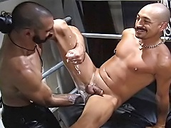 Diego and Sam enjoy the sling and some hardcore anal fisting...