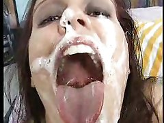 Sperm swallow and snowballing with a spoon