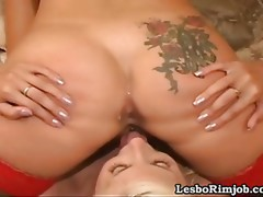Lesbo in nylons has her a-hole licked and filled up with a large sex toy