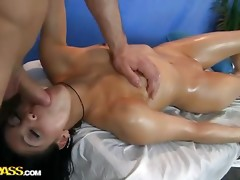 Pretty angel fucked at massage session