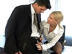 Horny Blonde Babe In Lingerie Sucks and Fucks a Big Cock At The Office