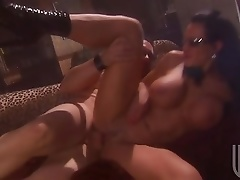 Busty Brunette In Glasses Getting Drilled And Facialized