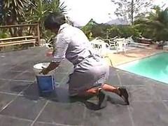 Yummy big ass splitted outdoor