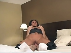 Horny fellows fucking corpulent slut inside hotel room