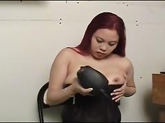 Horny asian slut using powertool to pleasure wet pussy