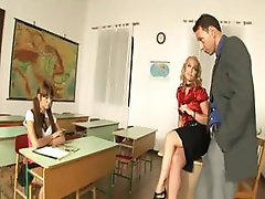 Slutty schoolgirls eat pussy and cock as they fuck their teacher
